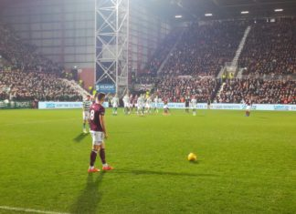 Hearts Olly Lee in action against Celtic at Tynecastle, 27th February 2019
