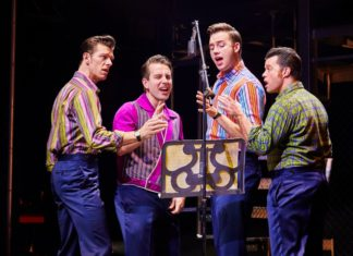 The cast of Jersey Boys starring at the Edinburgh Playhouse at the end of February 2019