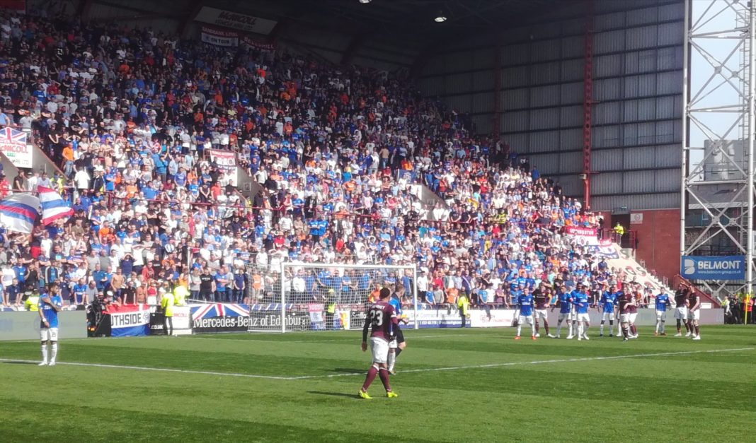 Action from Hearts v Rangers at Tynecastle, Saturday 20th April 2019