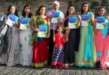 Mohindra Dhall, President of Edinburgh Diwali is joined by ladies from Edinburgh's South Asian community to launch the campaign to win £