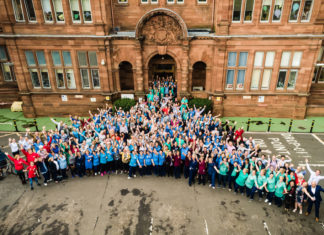 Aerial photo of staff outside Sick Kids
