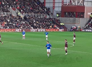 Action from Hearts v Rangers, Tynecastle, 26th January 2020