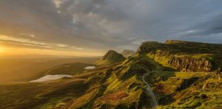 Sunset over the mountains of Skye